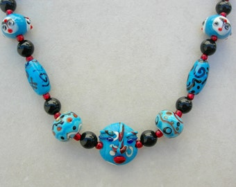 FUN Blue Glass Face Beads, Lampwork Focal & 2 Whimsical Face Beads, Lampwork Glass Beads, the Faces Collection, Necklace by SandraDesigns