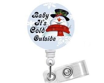 Snowman Baby - Retractable ID Felt Badge Holder - Holiday Badge Reel - Nurses Badge Holder - Nurse Badge - Teacher Badge - Gift under 10
