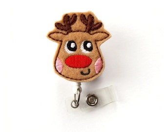 Randy the Reindeer - Retractable ID Felt Badge Holder - Holiday Badge Reel - Nurses Badge Holder - Nurse Badge - Teacher Badge