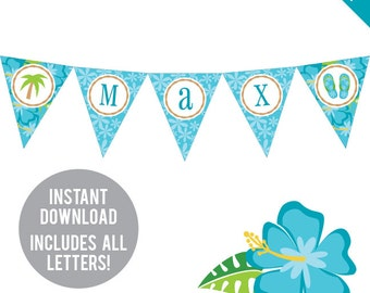 INSTANT DOWNLOAD Luau Theme Party (Boys) - DIY printable pennant banner - Includes all letters, plus ages 1-18