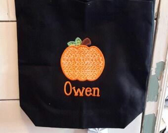 Trick or treat bag,Halloween treat bag,pumpkin treat bag,personalized treat bag