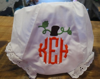 Monogrammed bloomers//Personalized pumpkin monogram bloomers//personalized panty//personalized diaper cover