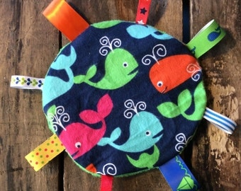 Whale Sensory Crinkle Tag Toy for Baby