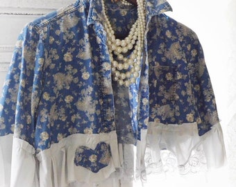 Blue boho crop top, french blue top, music festival hippie ruffle floral short cropped top, Bohemian Shirt, Bonnaroo, True rebel clothing