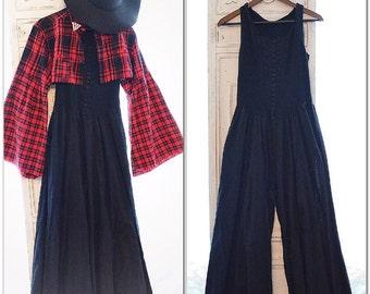 Vintage boho jumpsuit, Wide legged music festival bodysuit, black boho jumpsuit for fall, vintage cotton clothing, True rebel clothing M