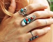 Sterling Silver Zuni Signed Barcia Teardrop Multi Stone Ring