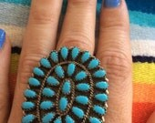 Old Vintage Zuni Cluster Turquoise Ring