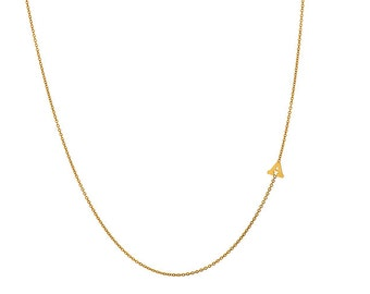 14 karat gold sideways initial necklace