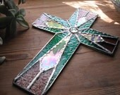 Stained Glass Cross Crucifix Teal Rose Irridescent