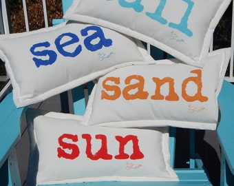 "ENDLESS SUMMER Sun Sand Sea Sail Surf Swim Relax Tan indoor outdoor pillows you choose phrase and letter color 12""x20"" Crabby Chris Original"