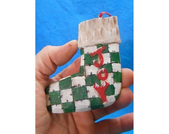 Wood Folk Art Christmas Stocking Tree Ornament #14032