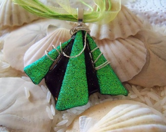 Green Beauty of Dichroic Glass Pendant