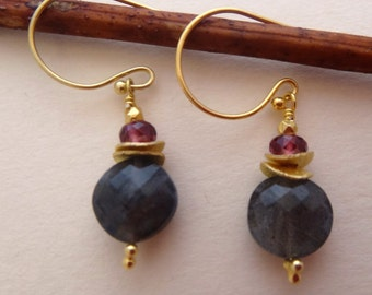 Gemstone earrings gemstone stack earrings labradorite earrings garnet earrings coin earrings labradorite stack garnet stack vermeil disc