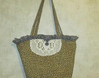 Sale Bucket Bag reclaimed  Animal print pattern fabric eco tote
