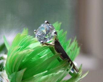Clara - diamond alternative gemstone wedding set - Made to order, custom made, 100% conflict free, bridal fashion, hand set 6mm gemstone