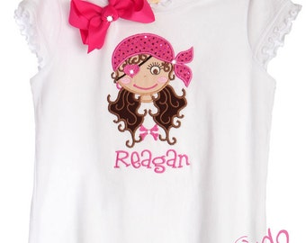 Custom Boutique TrendyGirlz Exclusive Pink Skull Princess Pirate Birthday Tee Shirt Design Your Own