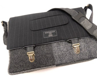 "Laptop bag, 13"" Macbook pro Messenger bag Macbook,Laptop Sleeve, Vintage, Wool, Trunk Latch,Recycled Suit Coat"