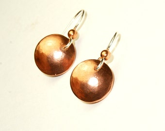 Copper earrings - mixed metal earrings - tiny small earrings - circle jewelry - Copper and Silver