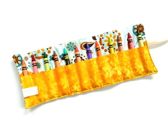 Crayon roll, large crayon wrap, blue yellow, kids coloring travel activity, birthday party favor, toddler birthday gift, boy girl