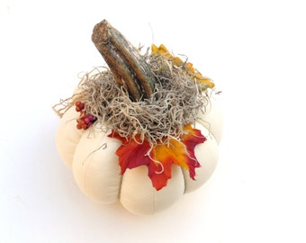 White linen stuffed pumpkin, table centerpiece fabric pumpkin, Thanksgiving decor, real stem pumpkin, country home decor