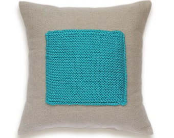Color Block Linen Knit Pillow Cover In Turquoise Blue Flax Beige 16 inch Decorative Wool Cushion Garter Stitch