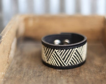 CUSTOM HANDSTAMPED CUFF - bracelet - personalied by Farmgirl Paints - black leather cuff with striped triangle stitching
