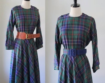 Vintage 1970s Dress 1980s Dress Womens Plaid Dress Preppy Clothing Womens Dresses 1980s Clothes Dolman Sleeves Dress Small Medium