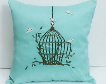 homedecor spa blue silk pillow vintage style birdcage hand embroidery accent sofa pillow bed pillow decorative contemporary modern pillow