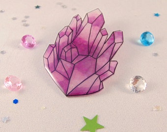 Sparkling Raw Gem Brooch - Customisable Colours
