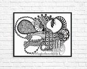 Giclee Art Print - 8.5x11 A4 - 'Cornucopia' Zendoodle - art print - zendoodle art - giclee print - Zoe Ford art - handdrawn