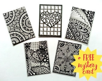Aceo Set of 5 + 1 Free / Zendoodle Aceo originals / Art Cards / Trading Cards / Artist Trading Cards x5 / ATC / free gift