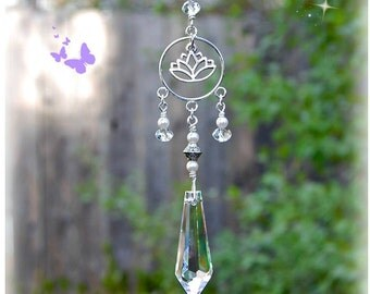 Lotus Flower Crystal Suncatcher, Rearview Mirror Car Charm, Window Decoration, Limited Edition