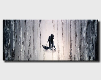 Large Abstract paintings -18 x 36 -Art -by Artist JMJartstudio- -Wall art-wall decor -Timeless- FREE US Shipping-Silhouette custom