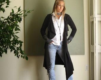 NEW Long Hoodie Cardigan Asymmetric Hem Duster Drop Shoulder Sweater Long Sleeve Jacket Faux Vest Boho Rocker Chic - Black and Gray - XS - L