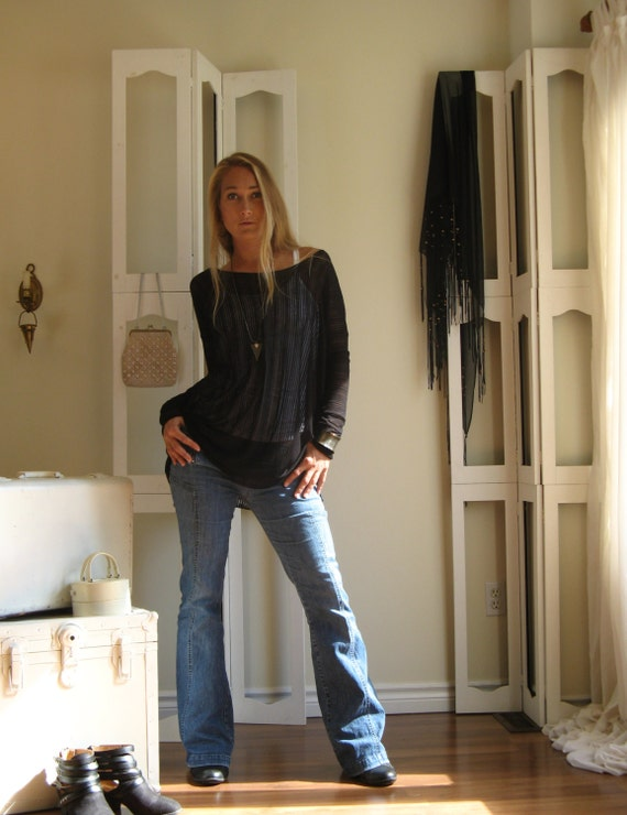 Boho Oversized Off Shoulder Sweater Tee Long Sleeved Tunic Boxy Top - Semi Sheer Stripe Rayon/Lycra Jersey - Black - XSmall - XLarge