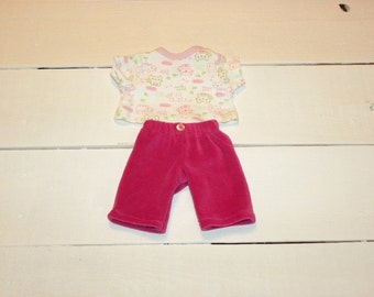 Hot Pink Velour Pants and White Patterned Tshirt - 12 inch doll clothes