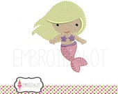 Mermaid machine embroidery design. Pretty mermaid embroidery adds a whimsical touch. Fun beach embroidery for summer.
