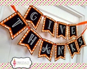 Thanksgiving bunting machine embroidery design. Made in the hoop. Made ITH embroidery in 3 sizes. Fall embroidery project or photo prop.