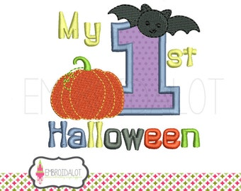 Halloween applique machine embroidery design. My first halloween embroidery, babies first embroidery. Mix of applique and filled stitch.