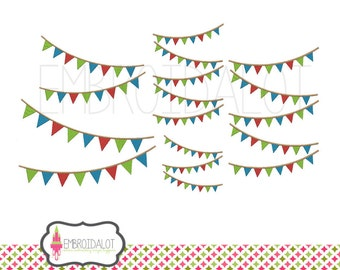 Banner embroidery design. From 2 to 5 strands in 5 sizes. Pretty and cheerful bunting embroidery design. Five sizes machine embroidery.