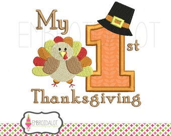 First thanksgiving machine embroidery design. Thanksgiving applique and filled embroidery. Babies first embroidery.