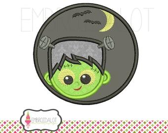 Frankenstein applique design. Halloween monster applique embroidery, 5 sizes. Cute frankenstein embroidery for Halloween projects.