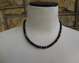 Vintage Black Faceted Beads with Matching Bracelet