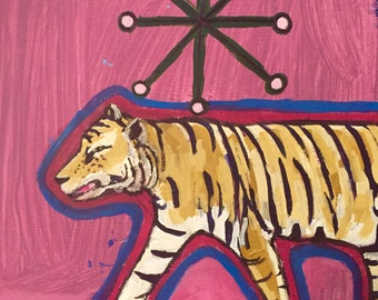 Original Oil + Acrylic Painting Of A Tiger On Magenta Hardboard Panel 12 x 12 inches
