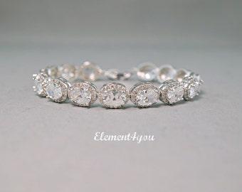 Cubic Zirconia Bridal Bracelet Wedding Jewelry CZ Bridal Bracelet Cubic Zirconia Oval Bridal Bracelet Bridal Accessories Bridal gift