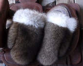 Raccoon fur mittens with coyote trim and red fleece liner handmade small