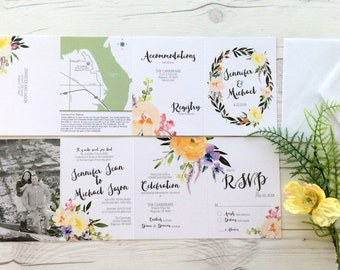 Floral Wedding Invitation Suite - Gorgeous Watercolor Flower Wedding Invitations - All in one design (199)