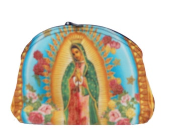 """USA Handmade Cosmetic Bag with  """"Virgin Mary With Crown"""" Pattern Clutch Purse, Pouch, Make Up Bag,  Blue, New, Rare"""