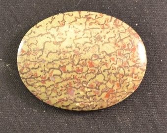 29mm x 39mm oval green and red dinosaur bone cabochon