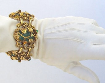 Large Bracelet, Green Glass and Rhinestones, Gothic, Rococo, Links, Vintage